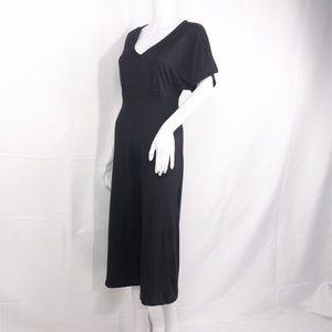 Velvet Touch Black Knit Jumpsuit Crop Wide Leg SzM